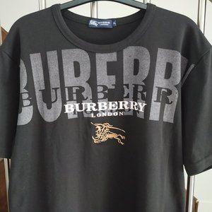 Vintage BURBERRY LONDON Men Black T Shirt logo XL